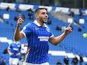 Brighton & Hove Albion striker Neal Maupay celebrates scoring on September 26, 2020