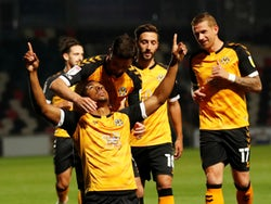 Newport County's Tristan Abrahams celebrates scoring against Watford in the EFL Cup on September 22, 2020