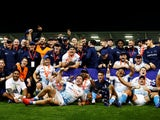 Sale Sharks celebrate winning the Premiership Rugby Cup on September 21, 2020
