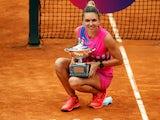 Simona Halep celebrates with the Italian Open title on September 21, 2020