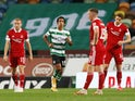 Sporting Lisbon's Tiago Tomas celebrates scoring against Aberdeen on September 24, 2020