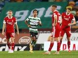 Sporting Lisbon's Tiago Tomas celebrates scoring against Aberdeen on September 24, 2020