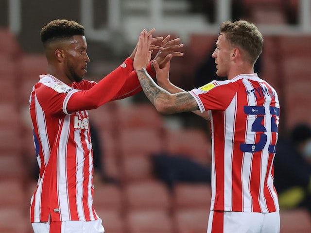 Stoke City's Tyrese Campbell celebrates scoring against Gillingham on September 23, 2020
