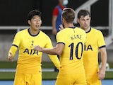 Tottenham's Son Heung-min and Harry Kane celebrate a goal against Skendija in the Europa League on September 24, 2020