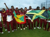 West Indies celebrate victory over England in the ICC Champions Trophy on September 25, 2004