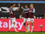 West Ham United's Jarrod Bowen celebrates scoring against Wolves on September 27, 2020