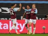 West Ham United's Jarrod Bowen celebrates scoring against Wolves on September 27, 2020