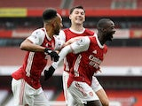 Arsenal players celebrate Nicolas Pepe's goal against Sheffield United  on October 4, 2020