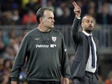 Pep Guardiola and Marcelo Bielsa on the touchline during their time with Barcelona and Athletic Bilbao respectively in 2012