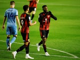 Bournemouth's Jefferson Lerma celebrates scoring against Coventry City in the Championship on October 2, 2020