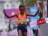 Brigid Kosgei pictured winning the London marathon on October 4, 2020