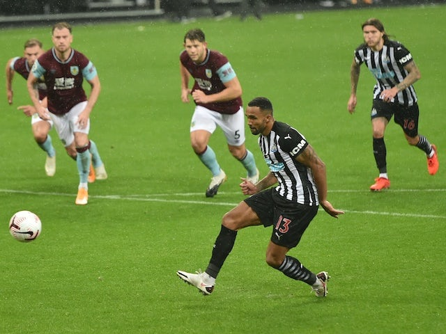 Newcastle United's Callum Wilson scores against Burnley in the Premier League on October 3, 2020
