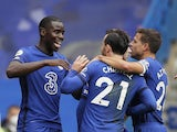 Chelsea's Kurt Zouma celebrates scoring against Crystal Palace in the Premier League on October 3, 2020