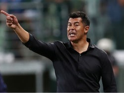 Elche manager Jorge Almiron pictured while in charge of San Lorenzo in May 2019