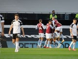 Aston Villa players celebrate Jack Grealish's goal against Fulham on September 28, 2020