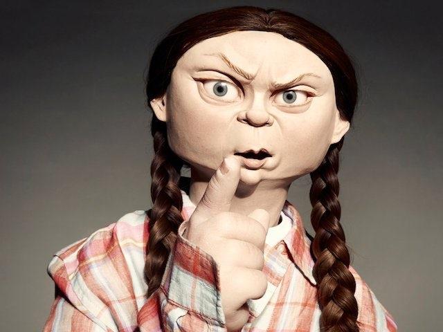 Spitting Image puppet of Greta Thunberg