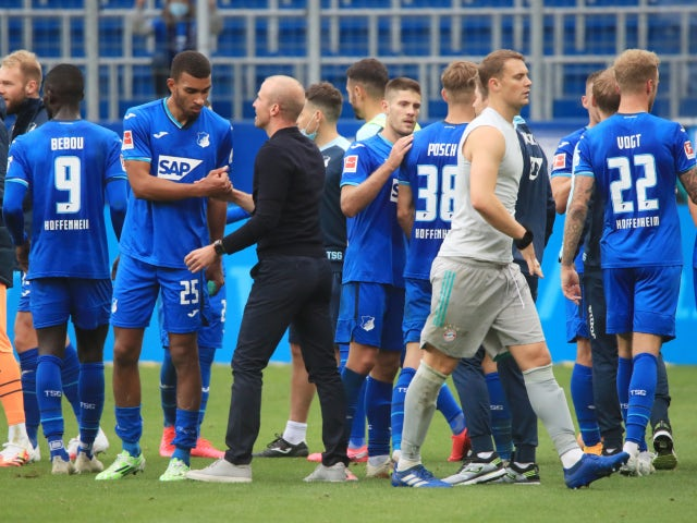 Hoffenheim manager Sebastian Hoeness celebrates with his players after their victory over Bayern Munich on September 27, 2020