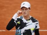Jannik Sinner celebrates at the French Open on October 4, 2020