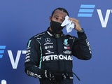 Lewis Hamilton on the podium at the Russian Grand Prix on September 27, 2020