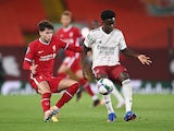 Arsenal's Bukayo Saka in action with Liverpool's Neco Williams in the EFL Cup on October 1, 2020