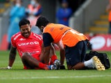 Sale's Manu Tuilagi reacts after suffering an injury against Northampton Saints on September 29, 2020