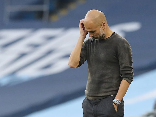 Manchester City manager Pep Guardiola pictured during his side's 5-2 defeat to Leicester City on September 27, 2020