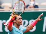 Rafael Nadal celebrates progressing in the French Open on September 30, 2020
