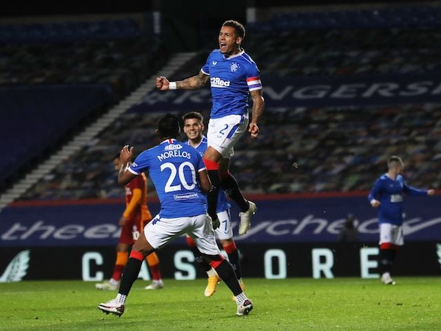Rangers' James Tavernier celebrates scoring against Galatasaray in the Europa League on October 1, 2020