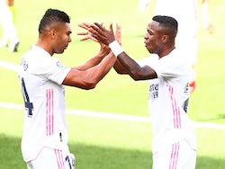 Real Madrid's Vinicius Junior celebrates scoring against Levante on October 4, 2020