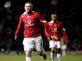 Wayne Rooney celebrates scoring a hat-trick on his Manchester United debut in 2004