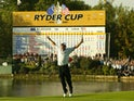 Paul McGinley celebrates winning the Ryder Cup for Europe in 2002