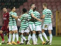 Celtic's Odsonne Edouard celebrates scoring against Sarajevo in the Europa League on October 1, 2020