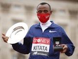 Shura Kitata pictured after winning the London Marathon on October 4, 2020