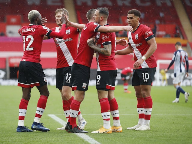 Southampton players celebrate scoring against West Bromwich Albion on October 4, 2020