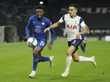 Tottenham Hotspur's Sergio Reguilon in action with Chelsea's Callum Hudson-Odoi in the EFL Cup on September 29, 2020
