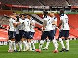 Tottenham Hotspur players celebrate scoring against Manchester United on October 4, 2020