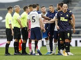 Tottenham Hotspur coach Nuno Santos remonstrates with match officials after the draw with Newcastle United on September 27, 2020