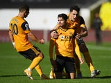 Pedro Neto celebrates scoring for Wolverhampton Wanderers against Fulham on October 4, 2020