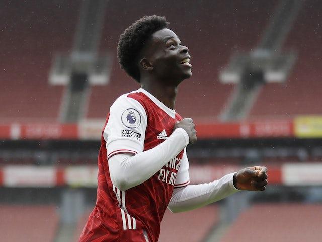 Bukayo Saka pictured celebrating after scoring for Arsenal on October 4, 2020