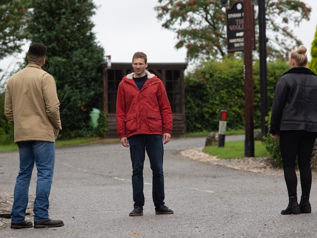 Jamie, Nate and Tracy on Emmerdale on October 27, 2020
