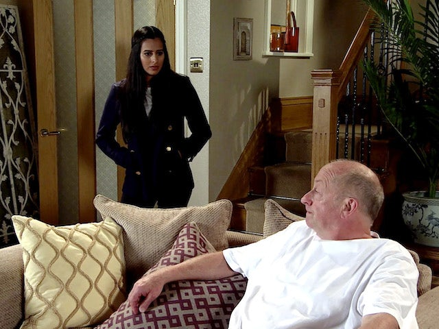 Alya and Geoff on the second episode of Coronation Street on October 28, 2020