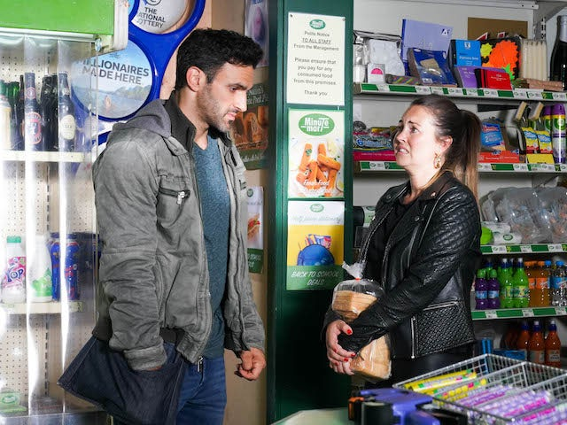 Kush and Stacey on EastEnders on October 22, 2020