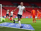 Conor Coady celebrates scoring for England against Wales in an international friendly on October 8, 2020
