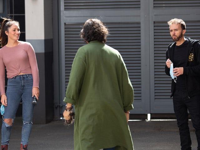 Shona, David and model Hugo on Coronation Street on October 16, 2020