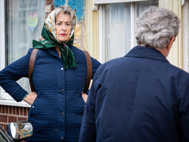 Evelyn on Coronation Street's first episode on October 12, 2020