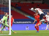 England's Dominic Calvert-Lewin scores against Wales in an international friendly on October 8, 2020