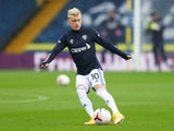 Ezgjan Alioski warming up for Leeds United on October 3, 2020