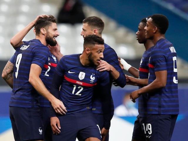 France's Olivier Giroud celebrates scoring against Ukraine in an international friendly on October 7, 2020