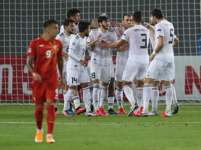 Georgia celebrate scoring against North Macedonia in the UEFA Nations League on September 8, 2020