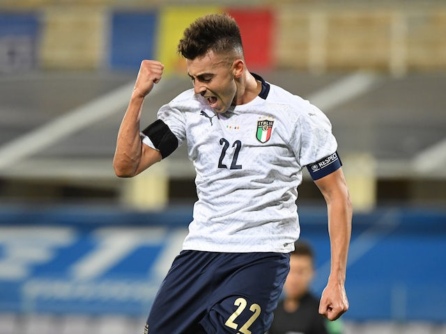Italy's Stephan El Shaarawy celebrates scoring against Moldova in an international friendly on October 7, 2020